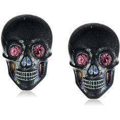 """Tarina Tarantino """"Classic"""" Multi Lucite Skull Post Earrings ($28) ❤ liked on Polyvore featuring jewelry, earrings, skulls, handcrafted jewelry, acrylic jewelry, sparkly earrings, tarina tarantino and skull jewellery"""