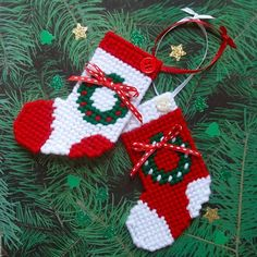 "Plastic Canvas: Christmas Ornaments -- ""Holly Wreath"" (set of 2) by ReadySetSewbyEvie on Etsy"