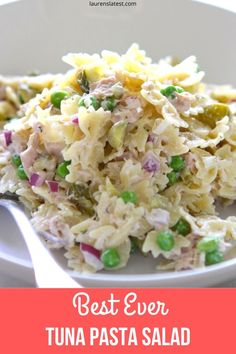 This creamy Tuna Pasta Salad Recipe is tangy, crunchy, oniony and delightful! Perfect for a healthy lunch, light dinner or snack to store in the fridge. recipes for dinner