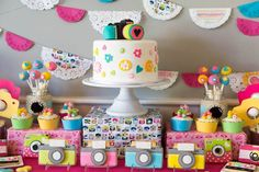Photo cakescape from Photography + Instagram Camera Themed Birthday Party at Kara's Party Ideas. See more at karaspartyideas.com!