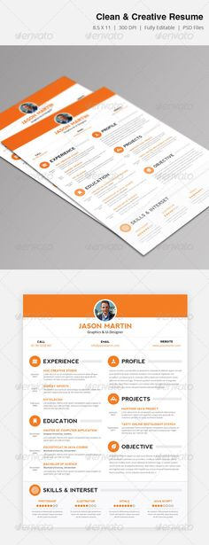 DIAGRAMACIÓN, TITULO GraphicRiver Clean & Creative Resume 3909052