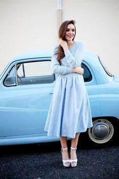 pastel blue long sleeve knit tee + midi skirt + heels | spring fall style