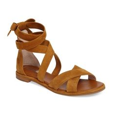 Women's Louise Et Cie Clover Sandal ($120) ❤ liked on Polyvore featuring shoes, sandals, cassia suede, wrap shoes, wrap around sandals, cushioned shoes, bow shoes and suede leather shoes