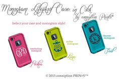 Monogrammed Lifeproof Case in Color iPhone 5 Monogrammed by conniption Prints on Etsy, $99.00