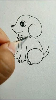 Cute Dog Drawing, Easy Drawings For Kids, Art Drawings Sketches Simple, Pencil Art Drawings, Doodle Drawings, Drawing Art, Drawing Ideas Kids, Drawings Of Dogs, Easy Drawings Of Animals
