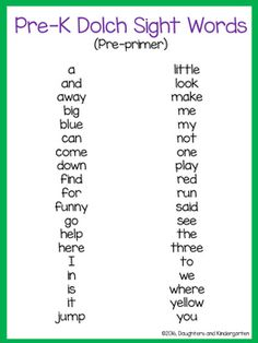 Dolch Sight Word List - Pre-primer by Sarah Griffin Little Learning Corner Pre K Sight Words, Dolch Sight Word List, Preschool Sight Words, Teaching Sight Words, Kindergarten Readiness, Sight Word Activities, Preschool At Home, Preschool Curriculum, Preschool Lessons