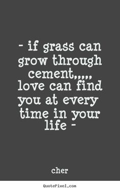 If grass can grow through cement, love can find you at every time in your life - cher