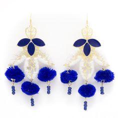 Moroccan Pom Pom Earrings - Navy