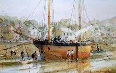 watercolour by David Norman (UK) Dry Dock, 43 х 20 cm.   http://www.royallfineart.co.uk/page61.html