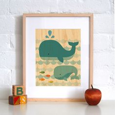 Whale Baby - Print on Wood