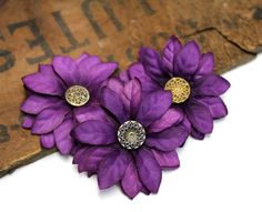 Small Purple Hair Flowers by ChatterBlossom #purple #flower #hair #fashion