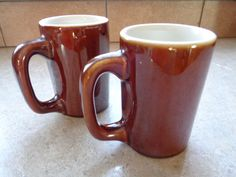 Hall Pottery Brown Mugs Cups Heavy Vintage Restaurant Ware ~ 2 #Hall