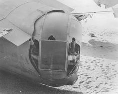 "Tail turret view at Consolidated B-24D ""Lady Be Good"" crash site. (U.S. Air Force photo)"