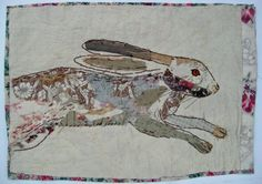Unframed appliqued and hand embroidered hare on by MandyPattullo, £60.00