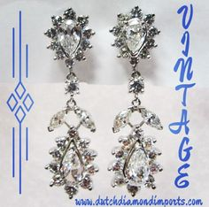 A beautiful platinum pair of diamond earrings with brilliant rounds and pear shapes.  Pear shape weight-3.09ct Brilliant rounds- 3.62ct  Call for pricing 214-742-5707 www.dutchdiamondimports.com