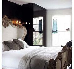 Master Bedroom - Dark feature wall  ~  LOOoovin this bed !!