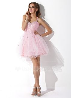 Another cute one for Bella.  - But a different color. A-Line/Princess Halter Short/Mini Taffeta Tulle Homecoming Dress With Ruffle Beading Sequins (022008942)