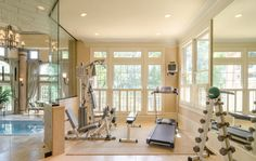 Home Gym / Exercise Room with glass wall viewing indoor swim-in-place pool/spa - pic 1 of 2