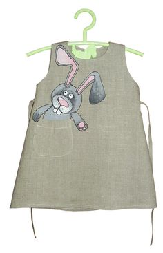Flower Gray girl linen dress - painted dress - Hand painted - ON ORDER ONLY - children summer clothing - bunny - linen girl - vintage dress