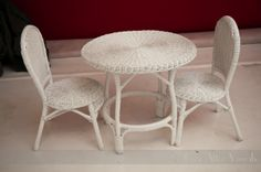 Child's White Wicker Chairs and Table