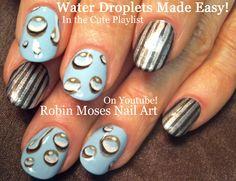 Water Droplets Nail Art UP Today!!!! #nailart #nails #nail #art #howto #fall #diy #design #tutorial #simple #easy #water #drops #droplets #raindrops #trendynails #fall2015 #diy #3d