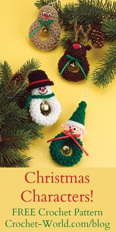 FREE Christmas Characters crochet pattern, courtesy of the Crochet World Magazine blog. Go now >> http://bit.ly/1YpoX56.