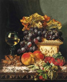 Edward Ladell - Red Grapes, Raspberries, Peaches, Whitecurrants and Hazelnuts with an Ivory Casket and Roemer to the side on a Marble Ledge Image Halloween, Still Life Images, Image Nature, Fruit Painting, Red Grapes, Painting Still Life, Illustrations, Casket, Aesthetic Art