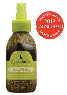 "@Macadamia NaturalOil's Healing Oil Spray: Winner of Launchpad's Readers' Choice Award for the ""Hair Oil - Fine Hair"" category."