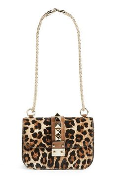 Valentino 'Small - Rock Stud' Leopard Print Calf Hair Convertible Shoulder/Crossbody Bag available at #Nordstrom