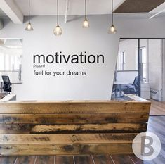 Motivational wall decor // Inspirational quotes for office decor / kids room wall art / Word . - Motivational wall decor // Inspirational quotes for office decor / kids room wall art / Word art wa - Office Wall Design, Gym Design, Office Wall Art, Office Walls, Office Interior Design, Office Interiors, Cool Office Decor, Yoga Studio Interior, Corporate Office Decor