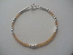 Yellow Sapphire Sterling Silver Bracelet, Yellow Sapphire Bracelet, Sapphire…