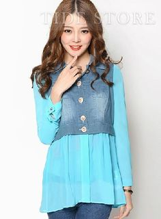 Shop Unique Denim Split Joint Long Sleeve Shirt on sale at Tidestore with trendy design and good price. Come and find more fashion Shirts here. Cheap Dresses, Shirt Style, Long Sleeve Shirts, Fashion Dresses, Denim, Blouse, Unique, Sleeves, Jackets