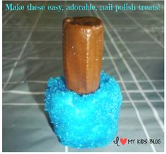 DIY Edible Nail Polish Marshmallow Treats - So Cute and Easy! These would be so cute at a girl's birthday party :)
