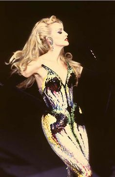 Jerry Hall in a fabulous iridescent dress 1970s