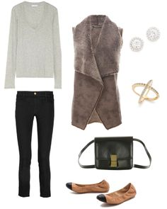 James Perse Cotton jersey top | MiH Jeans  Paris cropped mid rise slim leg jeans | Velvet Faux Leather Vest | Loeffler Randall Grier Elastic Ballet Flats | Elizabeth and James Northern Star Cross Band Ring | Kenneth Jay Lane Round Pave Stud Earrings