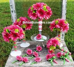 15Pc Hot Pink Gerber Daisy and Lime Green Wedding Flowers Bridal Bouquet Package
