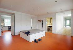ever wonder what an orange linoleum floor would look like?