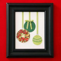 Christmas Card Ornament Art - Repurpose last year's cards as Christmas art. Inexpensive to craft, the ornamental design gets even thriftier when you size it to fit a frame you already own.