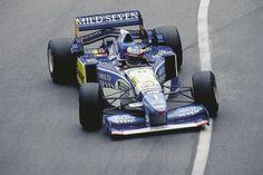 Michael Schumacher wins again in the 1995 Monaco Grand Prix driving a Benneton-Renault. Michael Schumacher, Sport Cars, Race Cars, F1 Model Cars, Gerhard Berger, F1 Motorsport, Monaco Grand Prix, Indy Cars, Car And Driver