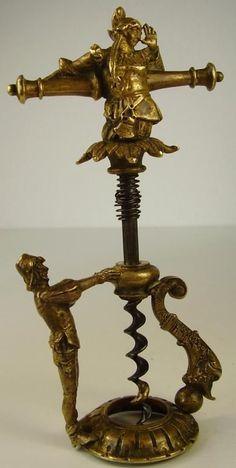 Antiker seltener Korkenzieher Corkscrew Figürlich Bronze 18 / 19 Jhd.