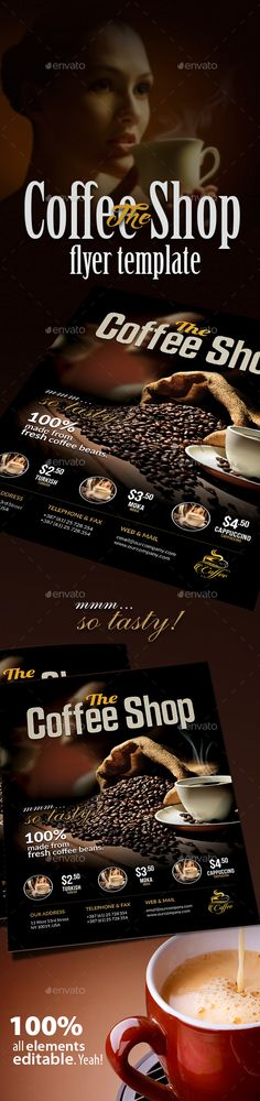 Coffee Shop Magazine Ad or Flyer Template V2 on Behance caffe - coffee shop brochure template