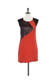French Connection- Red Orange & Black Sequin Dress Sz 8 | Current Boutique