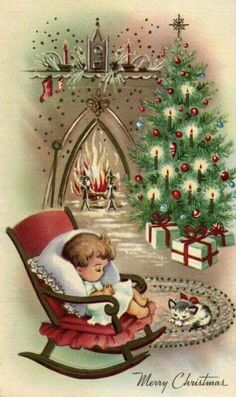 I love vintage Christmas cards! This is a selection of 30 of the best vintage and mid-century Christmas images, plus links to more, to print and decorate for the holidays. Vintage Christmas Images, Old Christmas, Old Fashioned Christmas, Christmas Scenes, Retro Christmas, Vintage Holiday, Christmas Pictures, Christmas Crafts, Homemade Christmas