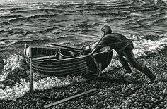Howard Phipps, Chesil Boatman,     Wood engraving