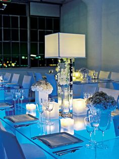 modern centerpiece idea, love it for a lounge atmosphere or urban loft engagement party..