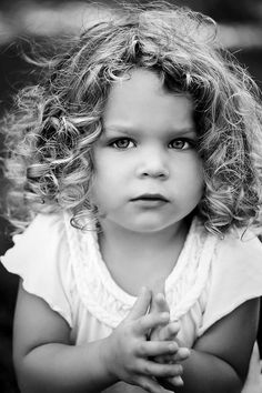 Child #photography girl with beautiful curly hair ToniK ~•❤• Bébé •❤•~ B  W