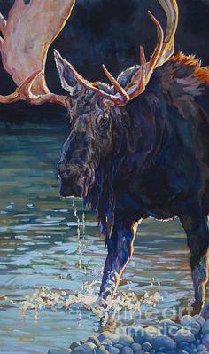Patricia A Griffin,moose,bull moose, wildlife,wildlife art,animal,animal art,big game,North American Wildlife,water,river,Tetons,Yellowstone,Wyoming