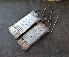 Silver+metalsmith+mixed+metalwork+earrings+by+DiPiazzaMetalworks,+$75.00