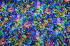 C6988 BLUE multicoloured colourful flowers print silky satin fabric print 100% Polyester Silk Touch dress making fabrics -  by the yard