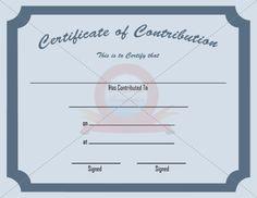 Contribution Certificate Template  Contribution Certificate